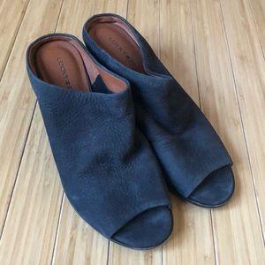 Lucky Brand Suede Navy Peep Toe Mule Heels 8